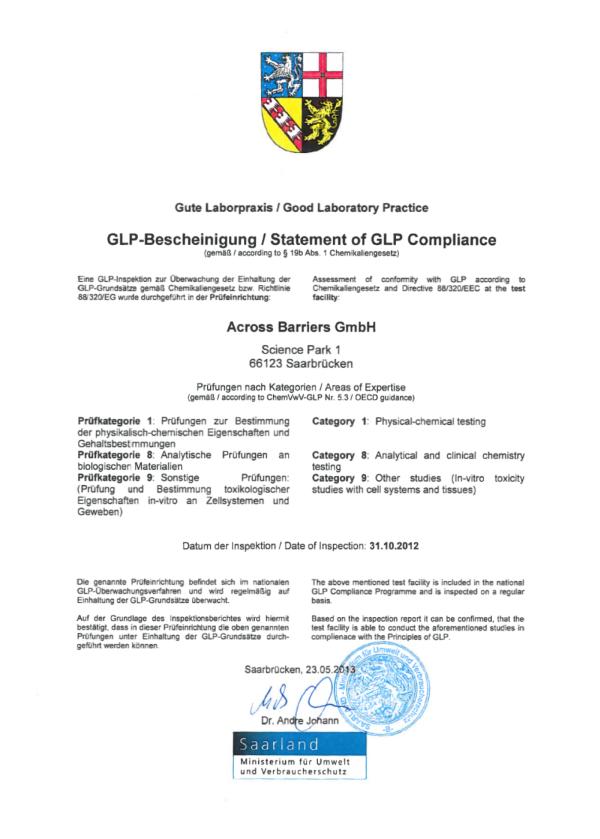 GLP certificate 2012