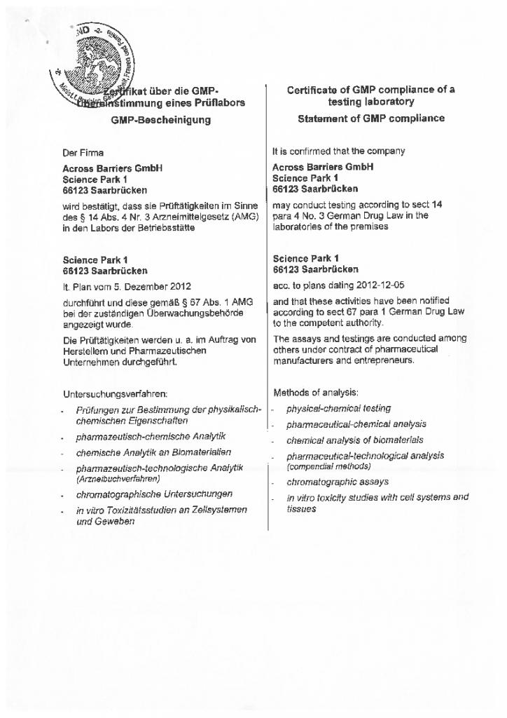 GMP certificate 2012