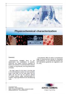 "Factsheet ""Physicochemical characterization"""
